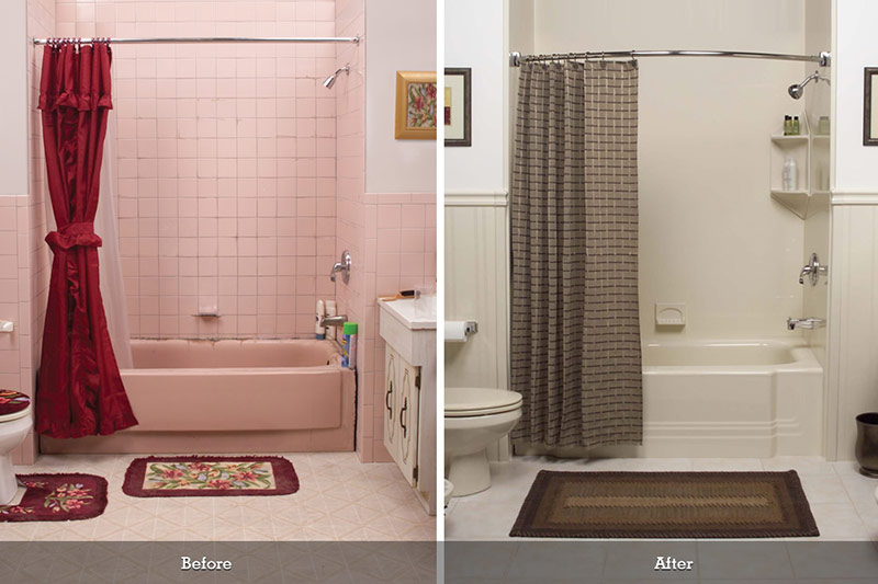 pink bathroom remodel before and after