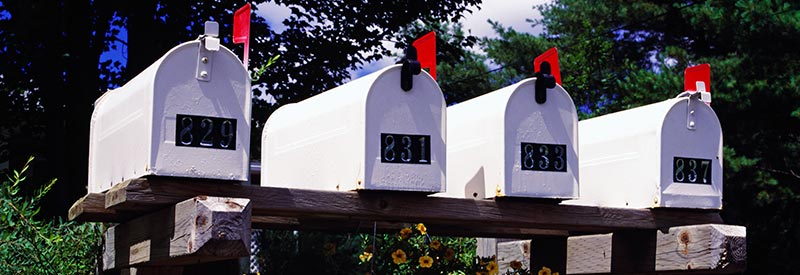 postal mailboxes along the road