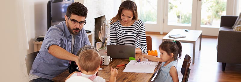 family researching their first home purchase