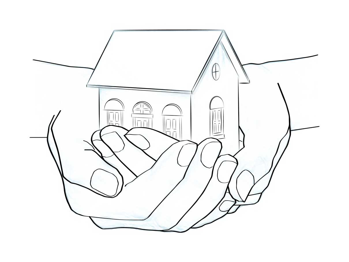 hands holding a home